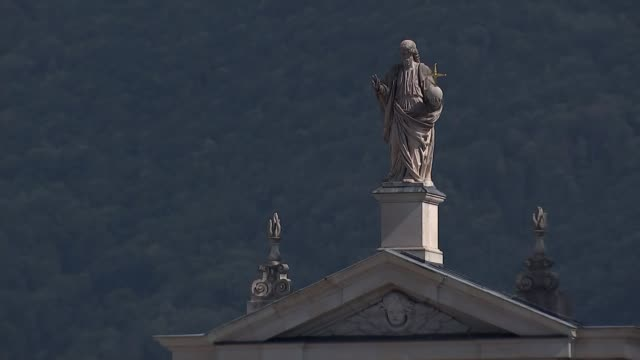 Theresa May seeks support for her Chequers plan at informal EU summit in Salzburg AUSTRIA Salzburg Long shot statue on top of Salzburg Cathedral