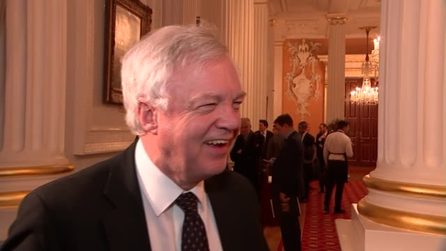 Theresa May speech Cabinet reactions ENGLAND London The City of London The Mansion House INT David Davis MP speaking to press SOT re free trade deal...