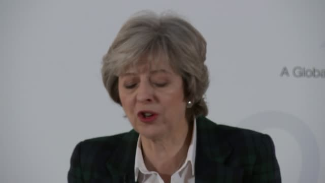 Theresa May speech on Brexit London Lancaster House INT Boris Johnson MP Liam Fox MP and Amber Rudd MP seated in audience at Theresa May speech...