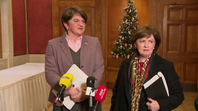 theresa may tours regions to promote brexit deal northern ireland belfast stormont int arlene foster mla press conference sot well of course we... - ストーモント点の映像素材/bロール