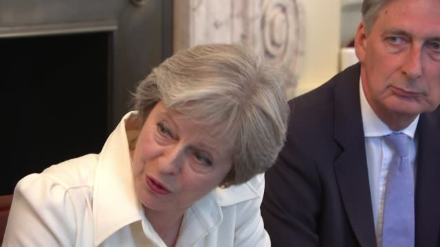 Theresa May wins crucial customs union vote by just six votes ENGLAND London Downing Street INT Theresa May MP speaking at meeting SOT Unemployment...