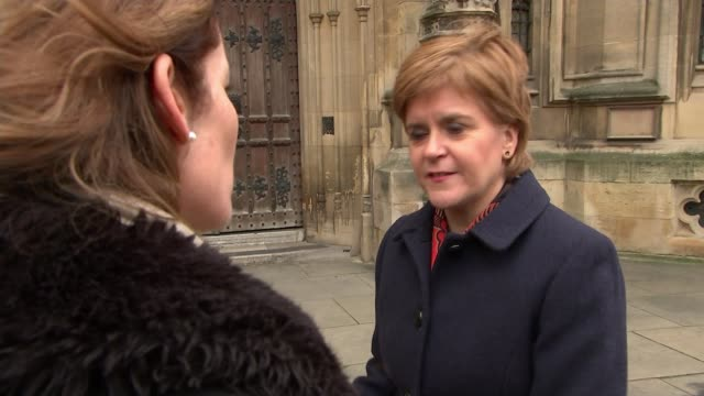 Theresa May wins vote of no confidence ENGLAND London Westminster EXT Nicola Sturgeon MSP interview SOT Various of Labour Party MPs posing for a...