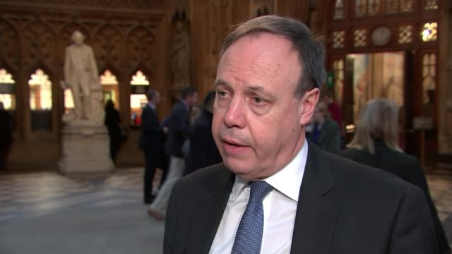 Theresa May wins vote of no confidence ENGLAND London Westminster Houses of Parliament Central Lobby INT Reporter talking to Nigel Dodds MP Nigel...