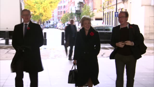 theresa may's brexit deal under continued pressure from both sides england london bbc broadcasting house andrea leadsom mp towards arriving damian... - damian hinds stock videos and b-roll footage