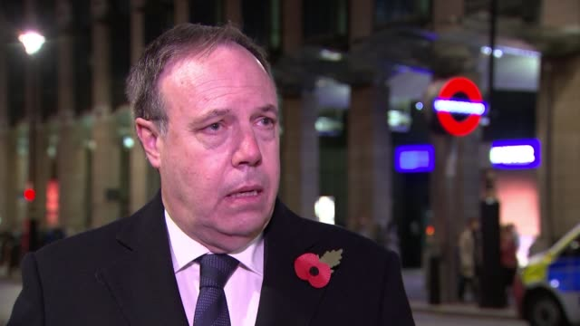 Theresa May's Brexit deal under continued pressure from both sides ENGLAND London Westminster Nigel Dodds MP set up shots with reporter / interview...