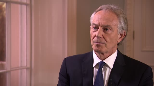 tony blair interview on draft withdrawal agreement england london int tony blair interview sot re possibility of second referendum theresa may's... - toffee stock-videos und b-roll-filmmaterial