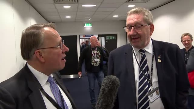 trades union congress vote to keep open the option of a vote on the final deal; uk, manchester: len mccluskey interview. england: manchester: int len... - trades union congress stock videos & royalty-free footage