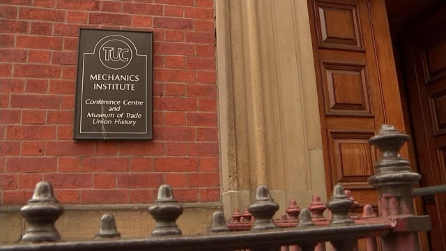 trades union congress vote to keep open the option of a vote on the final deal; uk, manchester: tuc plaque at the mechanics institute and stained... - trades union congress stock videos & royalty-free footage