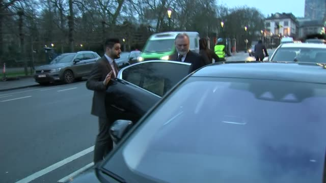 stockvideo's en b-roll-footage met uk ambassador departing residence in brussels belgium brussels tim barrow into car and away - politics