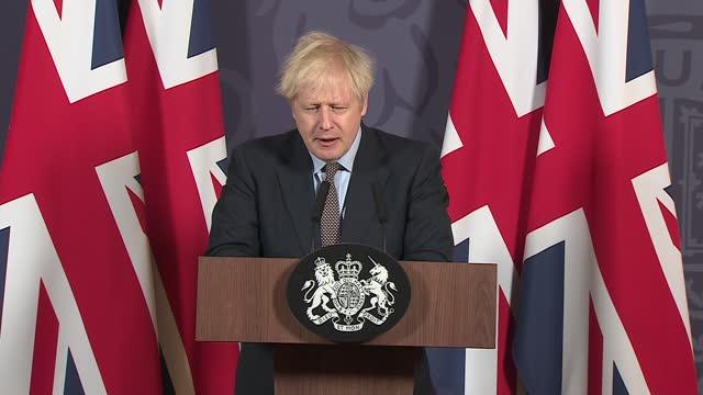 and eu agree post-brexit trade deal: boris johnson press conference; ** 2 of 7 ** england: london: 10 downing street: int boris johnson mp press... - scrutiny stock videos & royalty-free footage