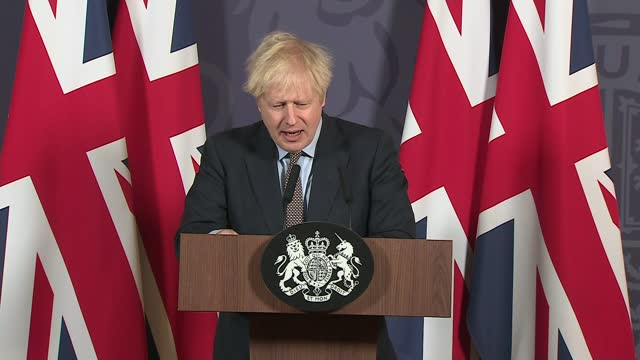 and eu agree post-brexit trade deal; england: london: 10 downing street: int boris johnson mp press conference sot - [re uk-eu post-brexit trade deal... - turning on or off stock videos & royalty-free footage
