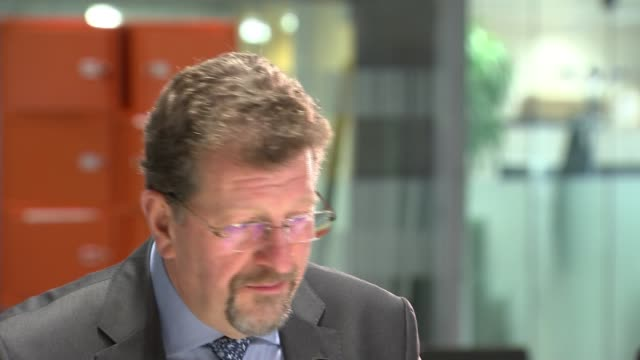 UK business leaders respond to threat of no deal ENGLAND London GIR Stephen Martin setup shot in atrium and interview SOT CUTAWAY reporter Bristol...