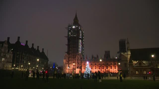 prepares to leave eu trading rules; england: london: westminster: ext / night big ben clockface surrounded by scaffolding as chimes heard at 11pm sot... - clock tower stock videos & royalty-free footage