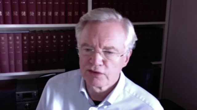 stockvideo's en b-roll-footage met trade deal negotiators return to brussels; england: int david davis mp interview via internet sot - politics
