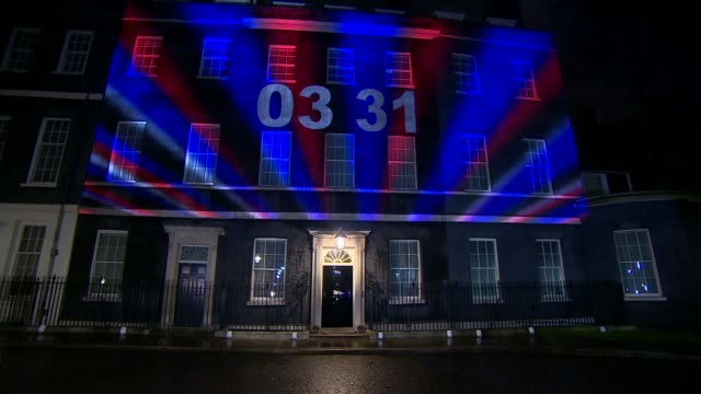 united kingdom leaves the european union downing street light show england london downing street red white and blue lights and brexit countdown clock... - countdown stock videos & royalty-free footage