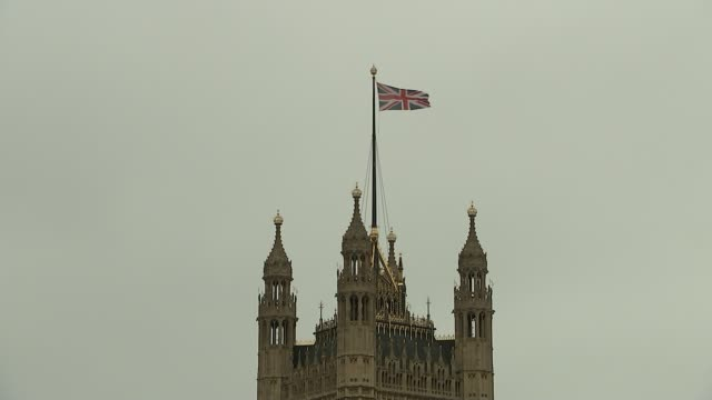 united kingdom leaves the european union england london westminster union jack flag flying atop victoria tower - union jack stock videos & royalty-free footage