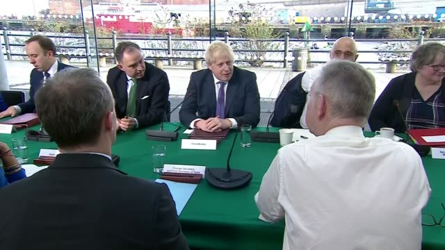 united kingdom leaves the european union; england: sunderland: int various shots of cabinet ministers around table at meeting including boris johnson... - welsh culture stock videos & royalty-free footage