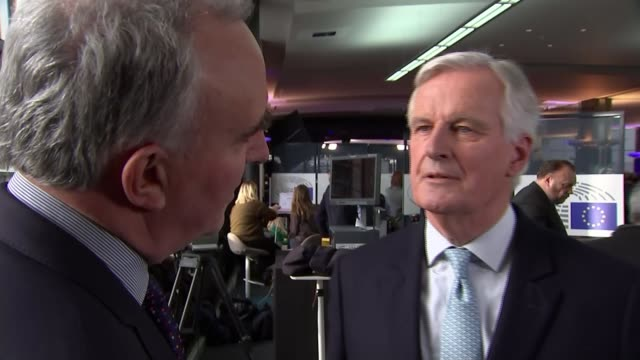 stockvideo's en b-roll-footage met united kingdom leaves the european union european reaction belgium brussels int michel barnier interview sot - politics