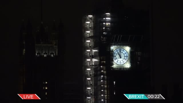 united kingdom leaves the european union itv news brexit live special england london westminster big ben showing 1059 downing street live downing... - clock stock videos & royalty-free footage