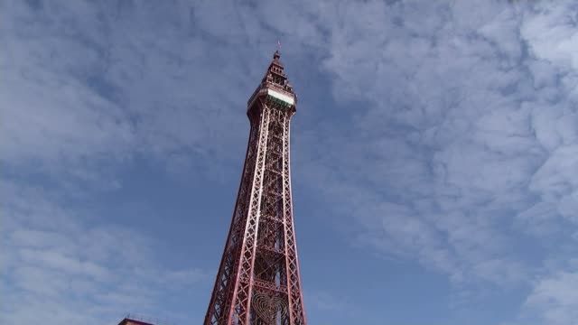 view from blackpool two years after the referendum england lancashire blackpool ext general views roller coaster man along with large stuffed banana... - blackpool stock videos & royalty-free footage