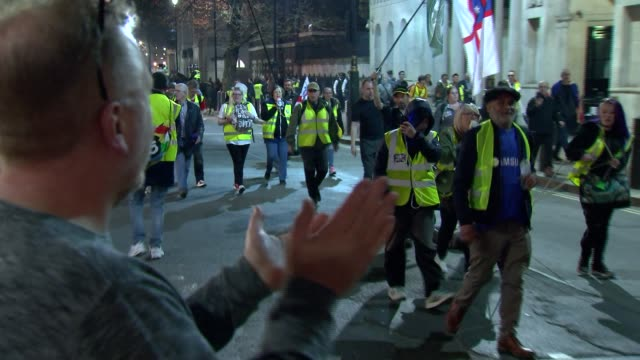 westminster protests protesters away england london westminster probrexit protesters and police walking away down whitehall at the end of the... - 2016 european union referendum stock videos & royalty-free footage