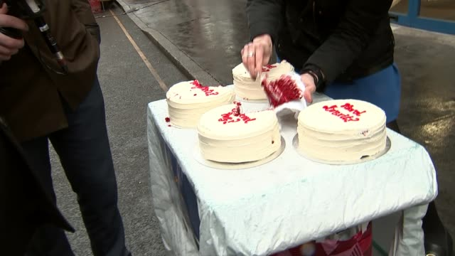 Which slice of the Brexit cake do Londoners want UK London Leather Lane Market Brexit vox pops with cake poll ENGLAND London Leather Lane Market EXT...