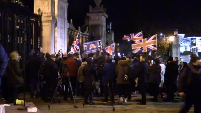 brexiteers celebrate at 11pm at the gates of stormont. dup mla jim wells addresses the crowd and leads the count down from ten to 11pm. - celebration stock videos & royalty-free footage