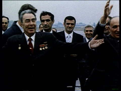 brezhnev in bulgaria dancing with women in traditionnal costume - 1970 1979 stock videos & royalty-free footage