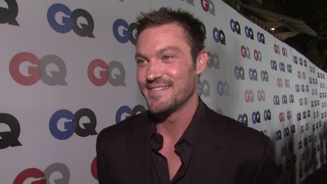 brian austin green on megan fox's cover of gq magazine and on his thoughts on the election at the gq men of the year awards at los angeles ca - megan fox stock videos and b-roll footage