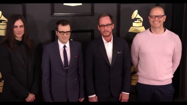 Brian Bell Rivers Cuomo Scott Shriner and Patrick Wilson at the 59th Annual Grammy Awards Arrivals at Staples Center on February 12 2017 in Los...