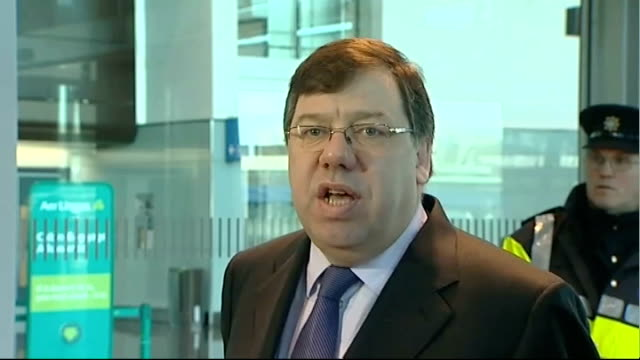 brian cowen speaking to press sot - the talks that began yesterday are going well in terms of being open and constructive - well i'm sorry, the... - brian wells stock videos & royalty-free footage