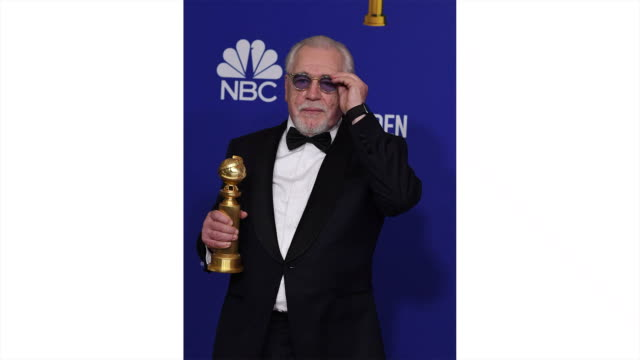 brian cox winner of best performance by an actor in a television series drama poses in the press room during the 77th annual golden globe awards at... - the beverly hilton hotel stock-videos und b-roll-filmmaterial
