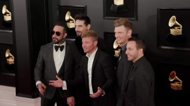 Brian Littrell Kevin Richardson Nick Carter Howie Dorough and AJ McLean at the 61st Grammy Awards Arrivals at Staples Center on February 10 2019 in...