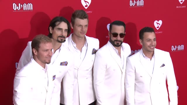 brian littrell kevin richardson nick carter howie dorough and aj mclean of backstreet boys at the 12th annual musicares map fun benefit concert... - backstreet boys stock videos & royalty-free footage