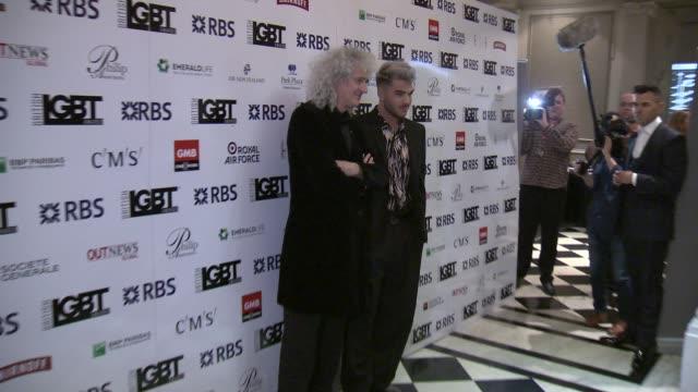 Brian May and Adam Lambert at British LGBT Awards on May 13 2016 in London England