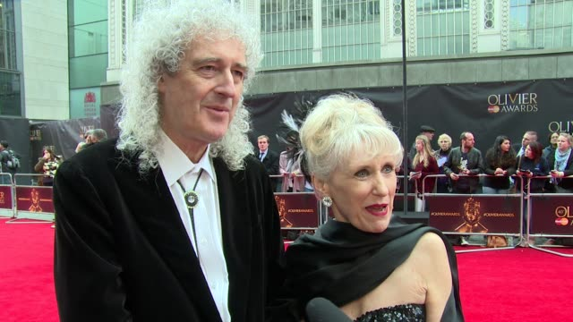 interview brian may and anita dobson on the awards favourite shows and musicals at the royal opera house on april 03 2016 in london england - anita dobson stock videos & royalty-free footage