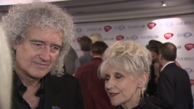 interview brian may and anita dobson on the ivor novello awards and anitas new tv role as queen elizabeth at the ivor novello awards 2015 - anita dobson stock videos & royalty-free footage