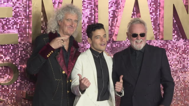 Brian May Rami Malek and Roger Taylor at Bohemian Rhapsody World Premiere at Wembley Arena on October 23 2018 in London England