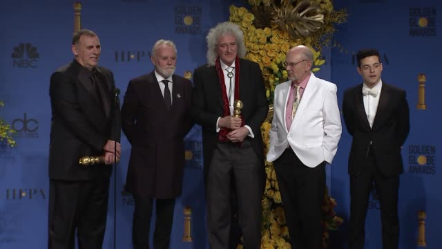 speech brian may rami malek mike myers graham king jim beach and roger taylor at the 76th annual golden globe awards press room at the beverly hilton... - golden globe awards stock videos & royalty-free footage