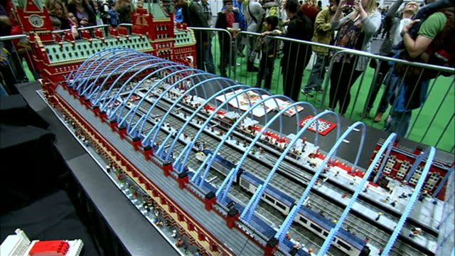Brick 2014 exhibition at ExCel Centre ENGLAND London ExCel Centre Brick 2014 exhibtion INT Model of St Pancras station made out of toy plastic bricks...