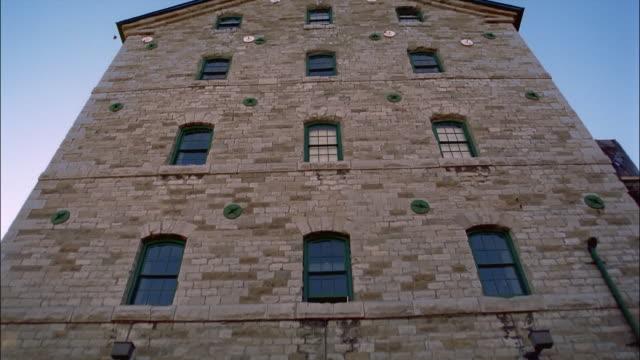MS, LA, TU, Brick building in Distillery District, Toronto, Ontario, Canada