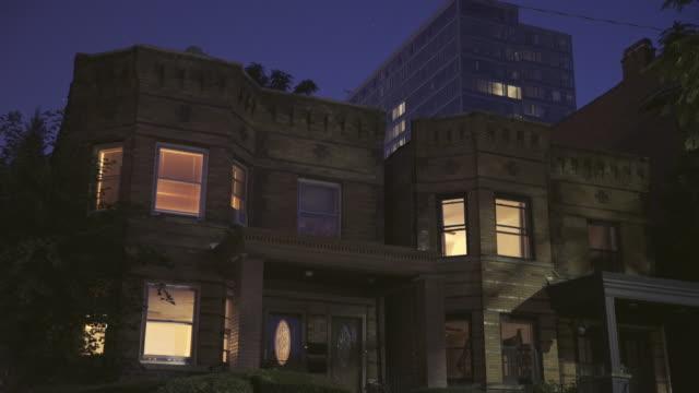 brick two flat apartments night - establishing shot stock videos & royalty-free footage