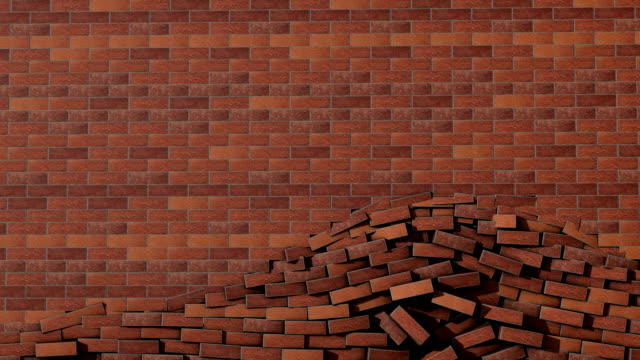 brick wall crash transition with matte! - brick stock videos & royalty-free footage