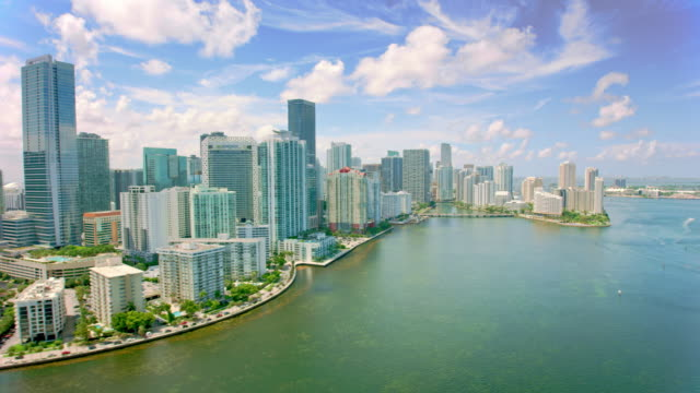 aerial brickell key and coconut grove, miami, florida - grove stock videos & royalty-free footage