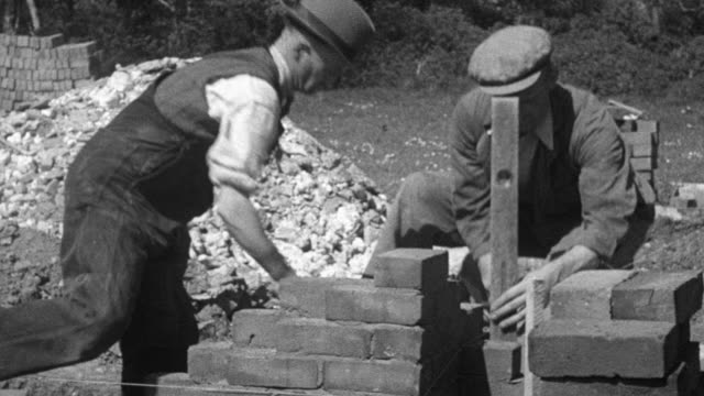 1944 MONTAGE bricklayers laying brick, mixing cement, and building scaffolding / London, England, United Kingdom