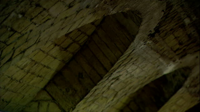 bricks form arches inside the tower of london. - tower of london stock videos & royalty-free footage