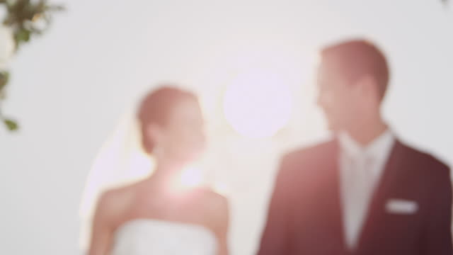stockvideo's en b-roll-footage met bridal couple walking through archway - bruiloft