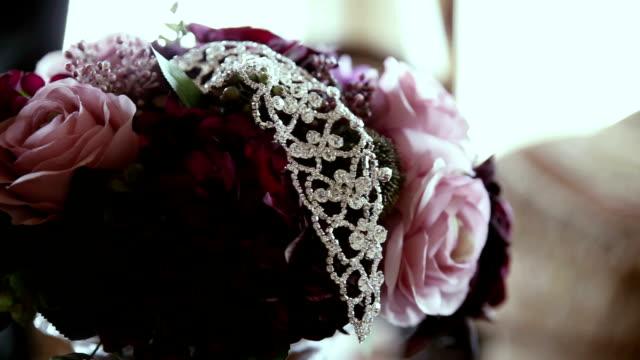 bridal tiara on flower
