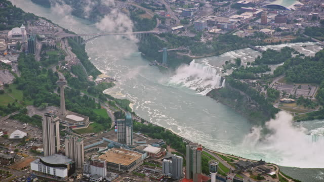 aerial bridal veil falls and american falls of the niagara river in ny, usa - river niagara stock videos & royalty-free footage