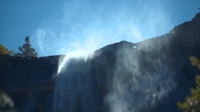 bridal veil falls waterfall, yosemite national park, california - slow motion - bridal veil falls yosemite stock videos & royalty-free footage